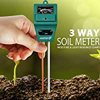 Tierra Tester Metro, Fosmon 3-en-1 pH Meter, Soil Sensor para humedad, Light, & pH Level Measurement para Growning Jardín, césped, granja, plantas, flores, vegetales, hierbas y más