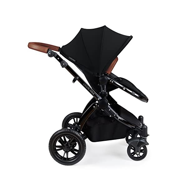 Ickle Bubba Stroller Stomp V3 iSize All-in-One iSize Baby Travel System | Car Seat w/ Isofix Base, Rear and Forward-Facing Pushchair, Carrycot | Black on Black Frame Ickle Bubba I-size all-in-one travel system: features carrycot, reversible pushchair, and mercury i-size car seat with is fix base. deluxe foam tires allow for a smooth ride Forward and parent facing toddler seat + new-born carrycot: flexible seating to cover your child from birth to 3 years old All weather protection: rain cover to cover your child from sudden downpour. machine washable and roomy footmuff 5