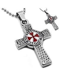 BOBIJOO Jewelry - Pendentif Collier Devise Templier Croix Latine Pattée  Rouge Patriote + Chaîne 25009cb83e56