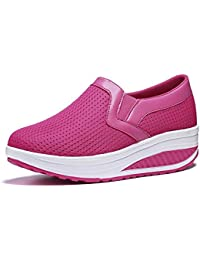 SHINIK Zapatillas deportivas ocasionales gruesas de malla baja transpirable Color sólido Lefu Shake Zapatos Tamaño...