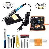 20pcs fer à souder électrique mis 60W 220V température réglable soudage Tool Kit de réparation avec 5 embouts à souder fil pincettes shuffle MP3 (Set fer à souder)