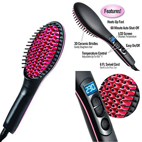 Cpixen Brush Electric Comb, Hair Straightening Iron Ceramic, Instant Natural Hair Styles