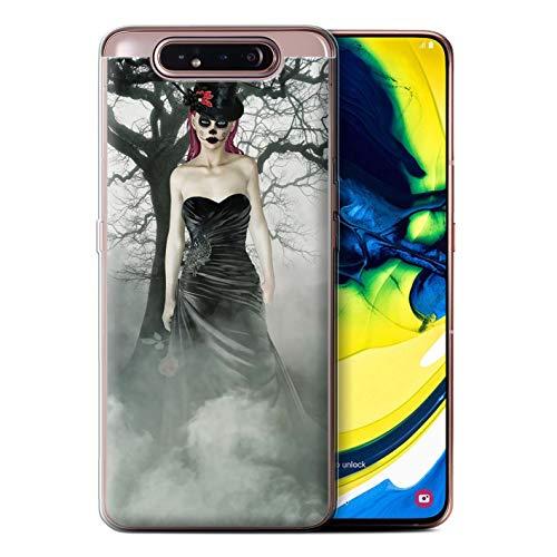 eSwish Gel TPU Hülle/Case für Samsung Galaxy A80/A90 2019 / Schwarzes Kleid Frau Muster/Tag Der Toten Festival Kollektion (Für Toten Tag Die Der Kleider,)