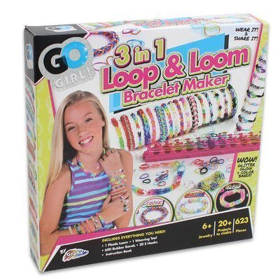 Maker Kit Set for Kids / Girls with Glow in the Dark, Glitter, and Color Jewelry Bracelets 623 Pieces (Bracelet Maker Kit)