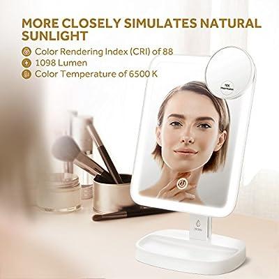 Lavany Makeup Taschenspiegel Handspiegel Kosmetikspiegel Doppelseitiger Schminkspiegel Reisespiegel mit 1X/10X Vergrößerung für den Hand-, Stand- oder Wand-Einsatz