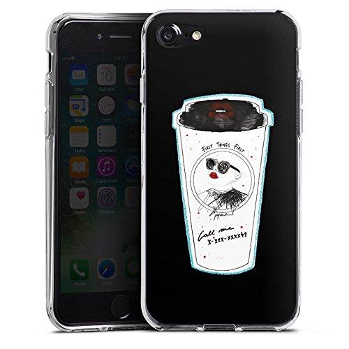 Apple iPhone X Silikon Hülle Case Schutzhülle Kaffee Becher Comic Silikon Case transparent