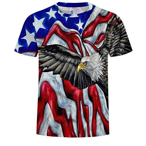 14EU-Haucalarm T-Shirt des Mannes 3D Flagge Eagle Printing Short Sleeve Tees (Color : Colorful, Größe : XX-Large) -