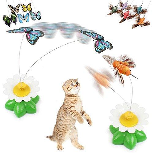 Anano Schmetterling Vögel Katze Spielzeug, Lustige Haustier Interaktive Spielzeug mit elektrischen rotierenden Schmetterling für Katze Kitten Spielen, Jagd (2 PCs)