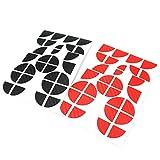 Finest-Folia 4D Carbonfolie Emblem Ecken Aufkleber (Schwarz Rot)
