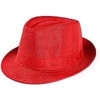 Gorra de Playa Unisex de Trilby Gangster, Sombrero de Paja para el Sol al Aire Libre, Color Rojo, Tamaño Medium
