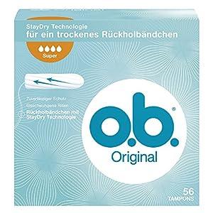 O.b. Original Super Tampon, mit geschwungenen Rillen, für zuverlässigen Schutz ideal für starke Tage, 1er Pack (1 x 56 Stück)