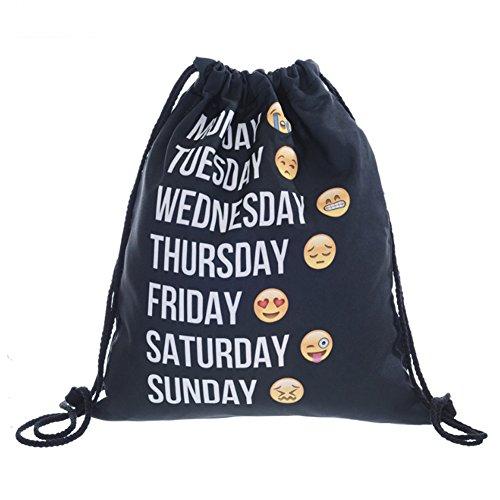 Vic Gruppe Emoji-Prints Kordelzug Taschen Umhängetaschen Gym Tote Sport Rucksack Reise Organisatoren für Frauen Mädchen (39x 33cm), damen, Emoji (Tag Der Toten Make Up Kids)