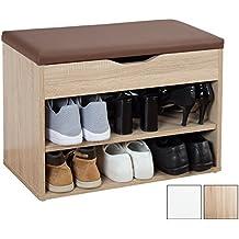 RICOO Banc Armoire Meuble de Rangement pour Chaussure WM032-ES-B avec siège coussin brun pouf pour l'entrée en bois Commode à Bottes Banquette de range-chaussures cuisine couloir Chêne de Sonoma