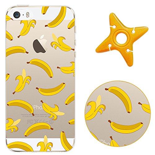 Crystal Chiaro Shell Skin per iPhone SE, MAOOY Colorato Carino Quadri Cassa Ultra Fine Fit Back Case per iPhone 5s, Cancella Anti Slip Morbida Jelly Rubber Protettivo Cassa del Respingente per 4.0 Ap Banana