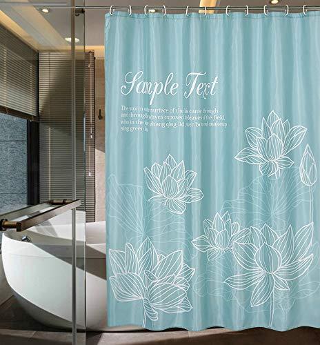 Ufengke tenda doccia fiore di loto con 12 ganci,turchese tende per doccia in tessuto impermeabile resistente alla muffa per il bagno,72