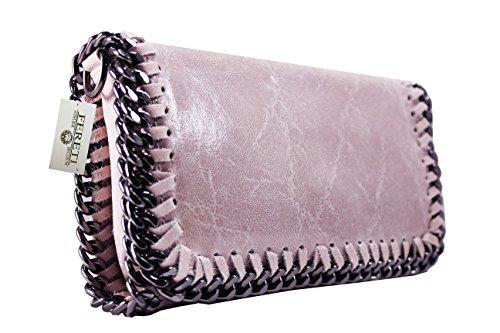 2deca2fc18 FERETI sac à main Rosé pale Pochette cuir bandoulière pour femme chaîne