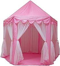 Karp Outdoor & Indoor Hexagon Castle Play Tent with Mosquito Net Design for Playhouse 135x140cm (Pink)