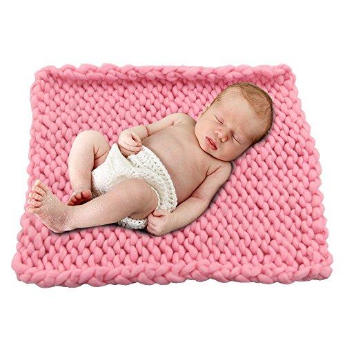 Play Tailor Klobige Gestrickte Decke, Neugeborenen Baby Foto Props Fotografie Wrap, mehrfachen Gebrauches Dicke Garn Stuhlkissen und Sofakissen 50x50cm