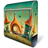 Design Briefkasten mit Zeitungsfach, Designer Motivbriefkasten mit Zeitungsrolle kaufen, für A4 Post, groß, bunt, Briefkastenschloss 2 Schlüssel, von banjado Motiv Zwergenhausen