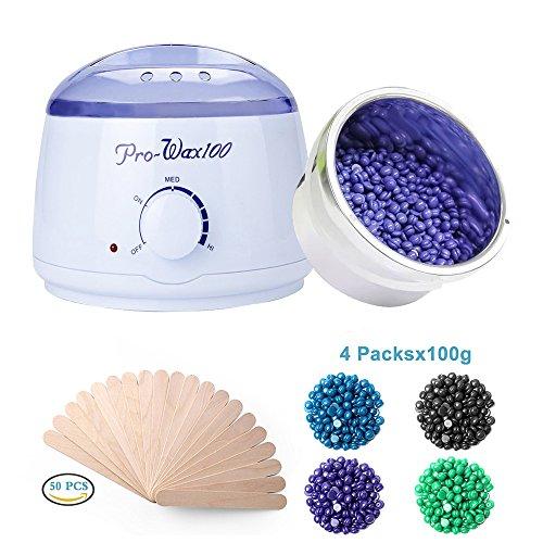 Wax Warmer,BYBO Wachswärmer Wax Warmer Heisswachs Haarentfernung Wachserhitzer Waxing Kit Wachsgerät mit Thermostat 80℃- 110℃ Behälter 500ml mit 4 verschiedene Aromen Bean + 50 pcs Holzspatel