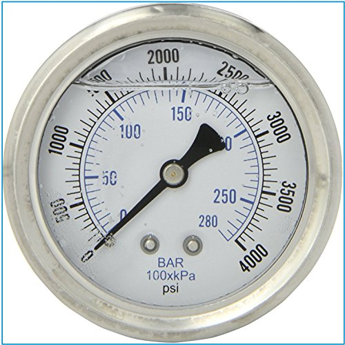 Liquid gefüllt Manometer, 6,3cm Zifferblatt Display, Edelstahl Fall, Messing-Interna, 1/10,2cm NPT-Rückseite Mount Anschluss, Dual-Skala PSI & Bar