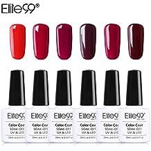 Elite99 Esmalte Semipermanente Esmalte de Uñas Gel UV LED Color Rojo Vino Burdeo 6pcs Kit de Manicura Soak off 10ml - Rojo 003