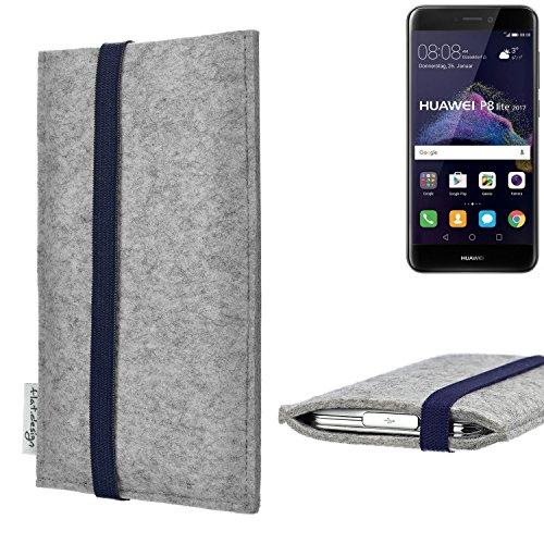 flat.design Handy Hülle Coimbra für Huawei P8 Lite 2017 Dual SIM - Schutz Case Tasche Filz Made in Germany hellgrau blau