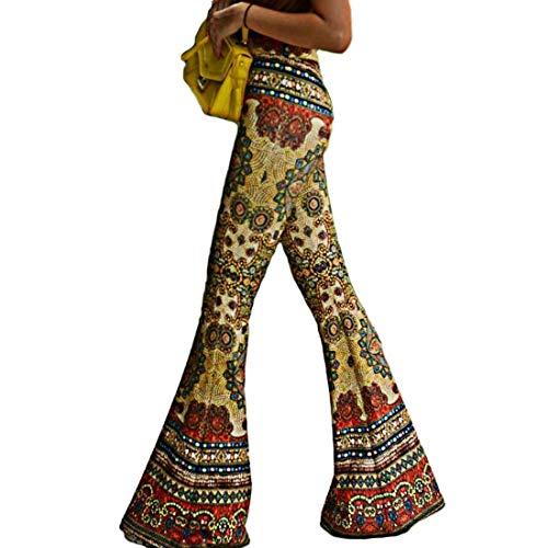 Inlefen Pantalón Flare con Estampado Vintage para Mujer Pantalones de Cintura Alta Pantalón con Estampado Floral Pantalones Elegantes Casuales