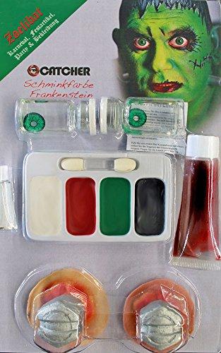 Zoelibat 97259841.043–trousse per trucchi, frankenstein con lenti a contatto, lattice sangue artificiale, make-up, 2viti, colla