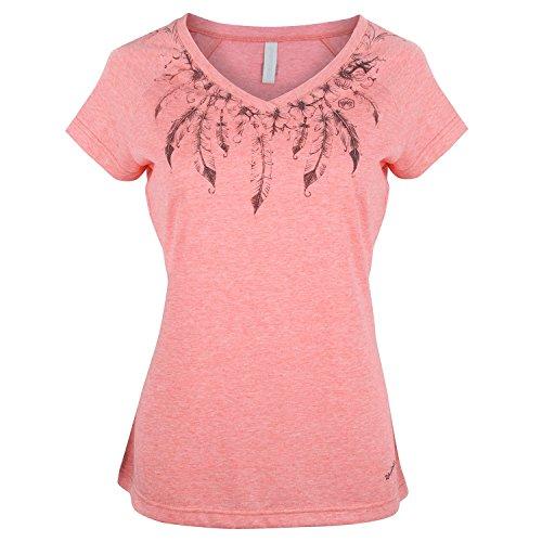 Urban Beach da donna piuma amico maglietta con collo a v, donna, Feather Friend, Pink, 6