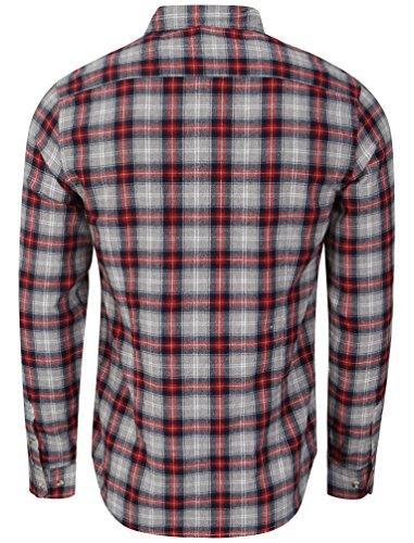 Tokyo Laundry Herren Wiesen Flanell Karierte Knopf Langarm Shirt Größe S-XXL Rot