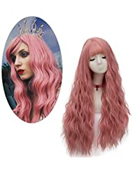 cd0195ce5df FiveFour Pink Wig with Wig Cap Long Fancy Dress Wig Curly Wig Synthetic Wig  Cosplay Wig
