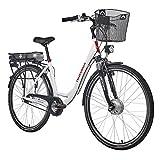Telefunken E-Bike Damen 28 Zoll, Elektrofahrrad Alu in Weiß mit 7-Gang Shimano Nabenschaltung - Pedelec Citybike leicht mit Fahrradkorb, 250W & 13Ah / 36V Lithium-Ionen-Akku