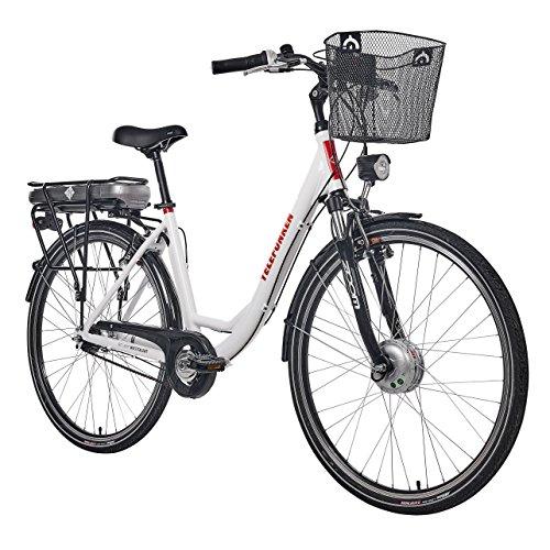 e bike mit mittelmotor und ruecktrittbremse Telefunken E-Bike Damen Elektrofahrrad Alu, mit 7-Gang Shimano Nabenschaltung, Pedelec Citybike leicht mit Fahrradkorb, 250W und 13Ah, 36V Lithium-Ionen-Akku, Reifengröße: 28 Zoll, RC657 Multitalent