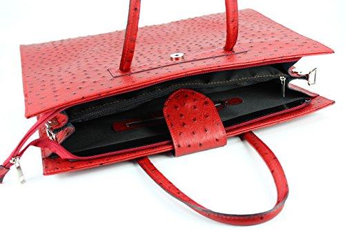 "BELLI ""Design Bag C"" ital. Ledertasche | Businesstasche | Jobbag - große Farbauswahl - 40x30x12 cm (B x H x T) Bordeaux rot strauss"