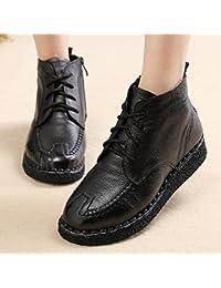 KHSKX-Invierno Nieve Botas Zapatos Zapatos De Cuero Correa Plana Con La Madre De Terciopelo Calido En Los Zapatos...