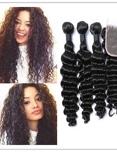 Jff/4 pcs/lot non transformés brésiliens vierges Cheveux humains tissage Deep Wave bouclés Dyeable Deep Curl avec top en dentelle Fermeture, 28 30 32 & 26-3 part