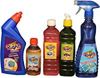 Right Choice Toilet Cleaner Liquid, 500 ml and Right Choice Floor Cleaner (Concentrate) Mix with 5-6L Water, 250 ml and Right Choice Vehicle Wash Liquid, 500 ml and Right Choice Dish Wash Liquid, 500 ml and Right Choice Glass Cleaner Liquid, 500 ml (Combo of 5)