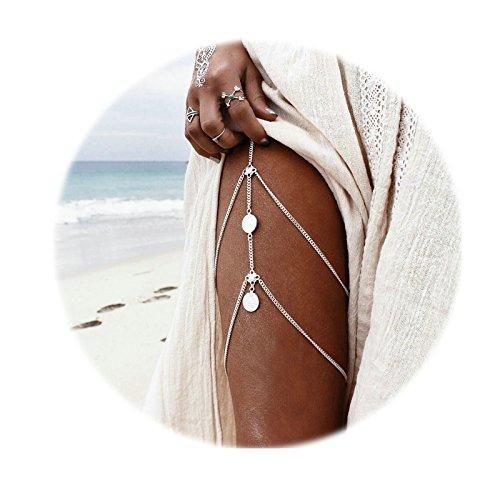 AnaZoz Körperschmuck Damen Beinkette Münzen Anhänger Körperkette, Hotpants Bikini Badeanzug Oberschenkelkette Silber für Frauen