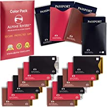 15bloqueo RFID mangas (12tarjetas de crédito y protectores de 3pasaporte) Ultimate-Protección contra robo de identidad funda Juego para hombres y mujeres. Smart Slim diseño se adapta perfectamente a tipo cartera/bolso.