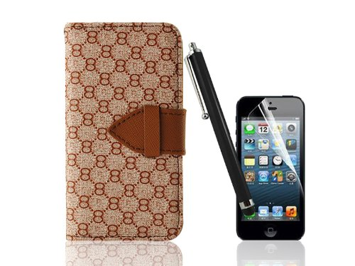"iPhone 5 Case, Nccypo Wallet Style Leather Case Cover with Number ""8"" Print for iPhone 5, with Screen Protector and Stylus"