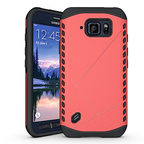 S6 Active Coque,EVERGREENBUYING Ultra Slim 2 léger couche SM-G890A Premium TPU Souple Etui de Protection, absorbant les chocs Anti-rayures Case Cover pour Samsung Galaxy S6 Active Argent Rose