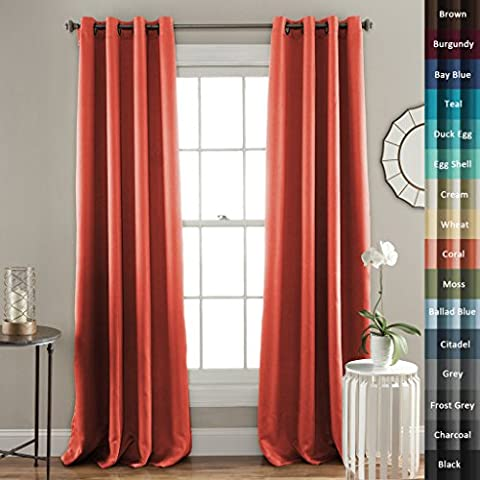 H.Versailtex Dos Paneles de Cortinas Opacas sólidas termales, cada cortina (2 X W140CM x H245CM), el cuidado del bebé. - Rojo
