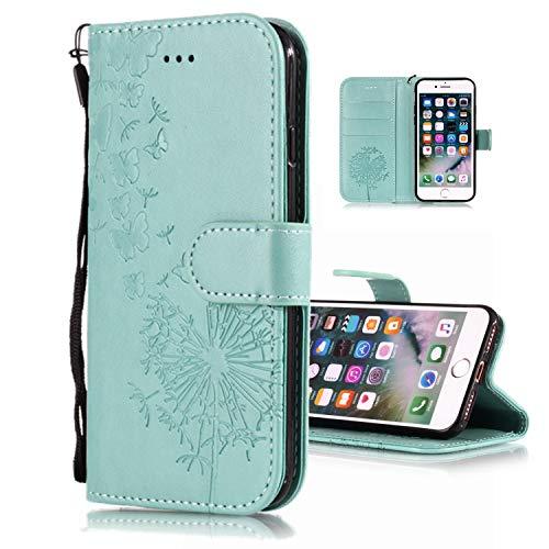 Shinyzone Stoßfest Schutzhülle für iPhone 8,iPhone 7 Hülle Prägung Schmetterling Pusteblume Muster Serie,Magnetischer Ständer Tasche mit Kartenfach Leder Brieftasche Flip Hülle-Grün Rüstung Series Case