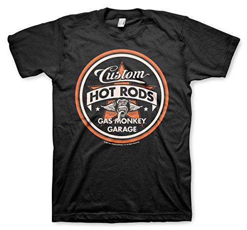 Offizielles Lizenzprodukt Gas Monkey Garage Custom Hot Rods Herren T-Shirt (Schwarz) , Large
