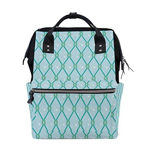 MUMIMI Mumien-Tasche, Wickeltasche, großes Fassungsvermögen, Blau Fischnetz, nahtloses Muster, multifunktional, Reiserucksack -