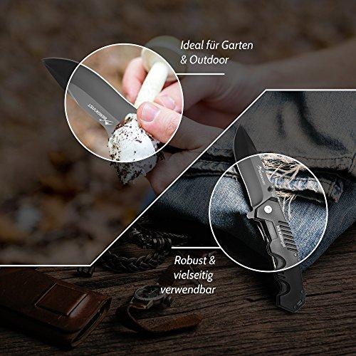 BERGKVIST Klappmesser extra scharf | Mattschwarzes Outdoor Survival Taschenmesser | Kompaktes Einhandmesser mit Edelstahlklinge & Aluminiumgehäuse | Ideal einsetzbar für Freizeit, Arbeit, Wandern & beim Camping - 5