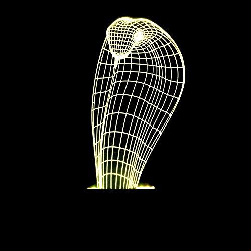 Wmshpeds Cobra Python Kopf 3D-Lampe kreative Geschenke Desktop-Beleuchtung LED-Touch-bunte Gradienten Nachtlicht (Basis Python)