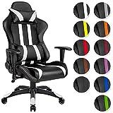TecTake Bürostuhl Sportsitz Racing Gaming Stuhl ergonomisch mit Armlehnen inkl. Lordosenstütze und Nackenkissen - diverse Farben - (schwarz weiß | Nr. 402029)
