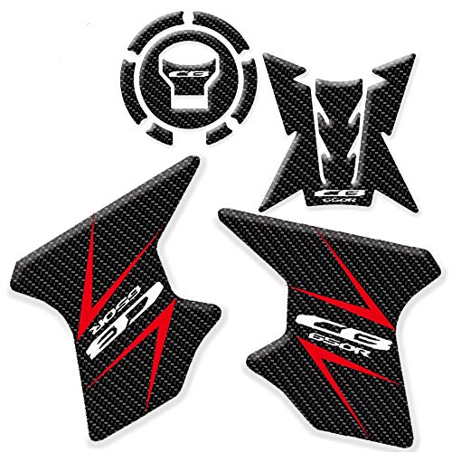 KKmoon Protezione per Cuscinetti Serbatoio Olio per Gas in Fibra di Carbonio per Moto, Adesivi Antiscivolo 3D Trazione Laterale per Ginocchiere Compatibili con Honda CB650R 2019